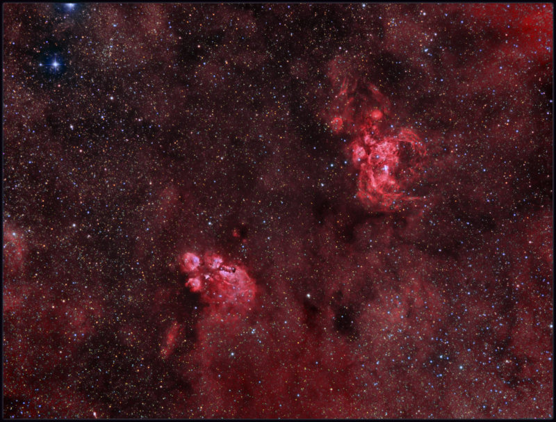Cats paw and Lobster nebulae