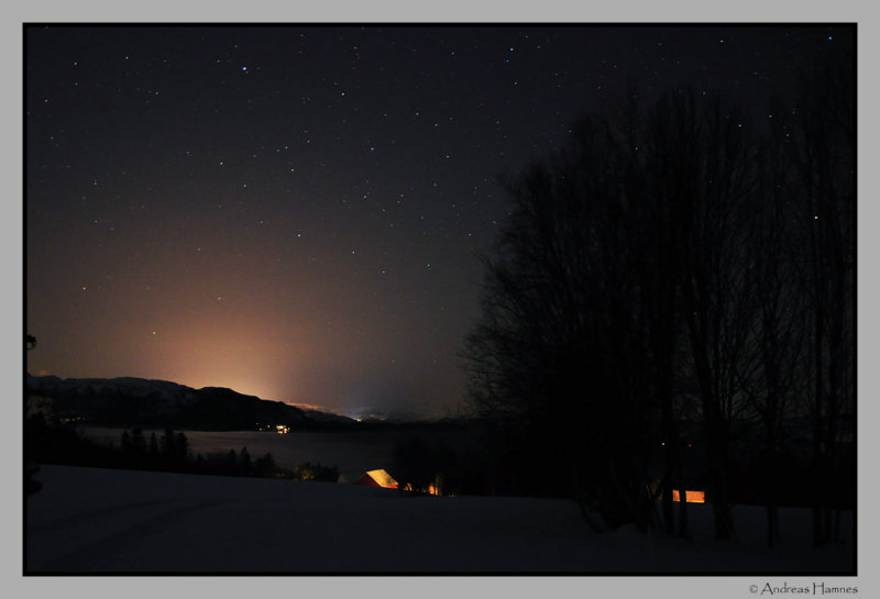 Starry sky over Namsenfjord