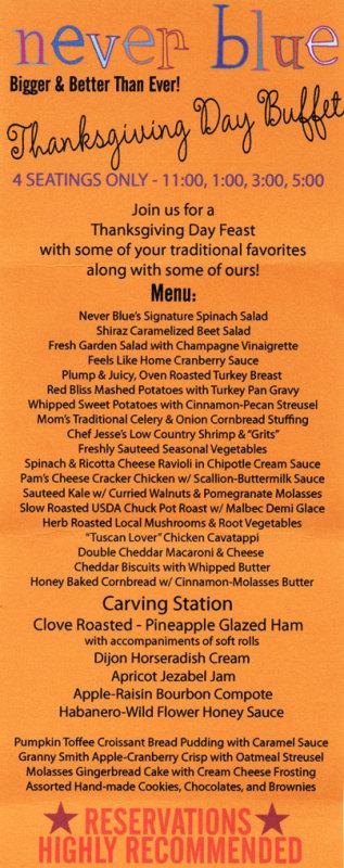 Never Blue Thanksgiving Buffet Menu
