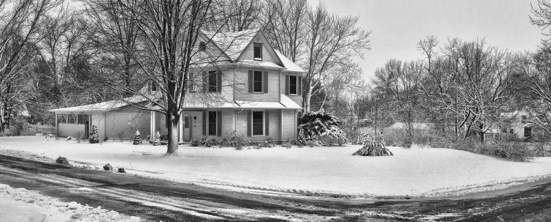 7th Street House in Snow (B&W)