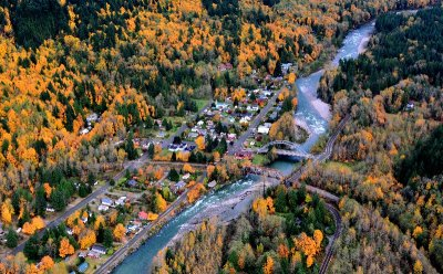 Small town of Index, Fall Colors on Skykomish River, Washington