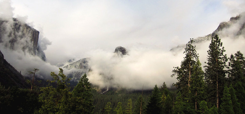 Clouds covering Cathedral Rocks except for tip of middle one, Tunnel View, 6:29 pm.  #4514