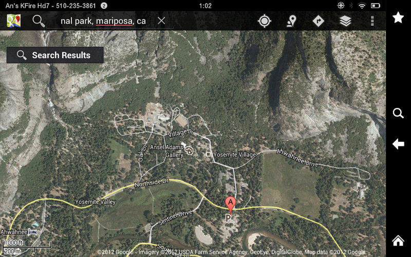 Google Maps on Kindle Fire HD 7 - Screenshot of Yosemite Valley