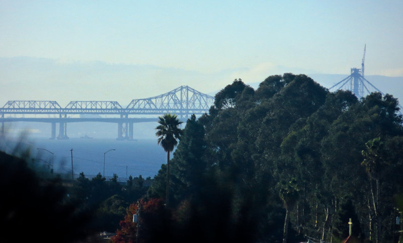 Morning. 500mm handheld zoom-in on Bay Bridge. Day 3, w/ Superfine mode. 0202