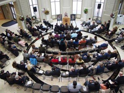 Ruth Moorhead speaking at Ken Trimmers Memorial PC050065.jpg