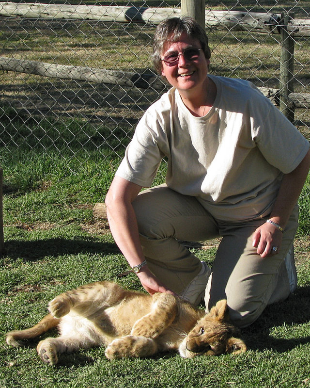 Judy and lion cub