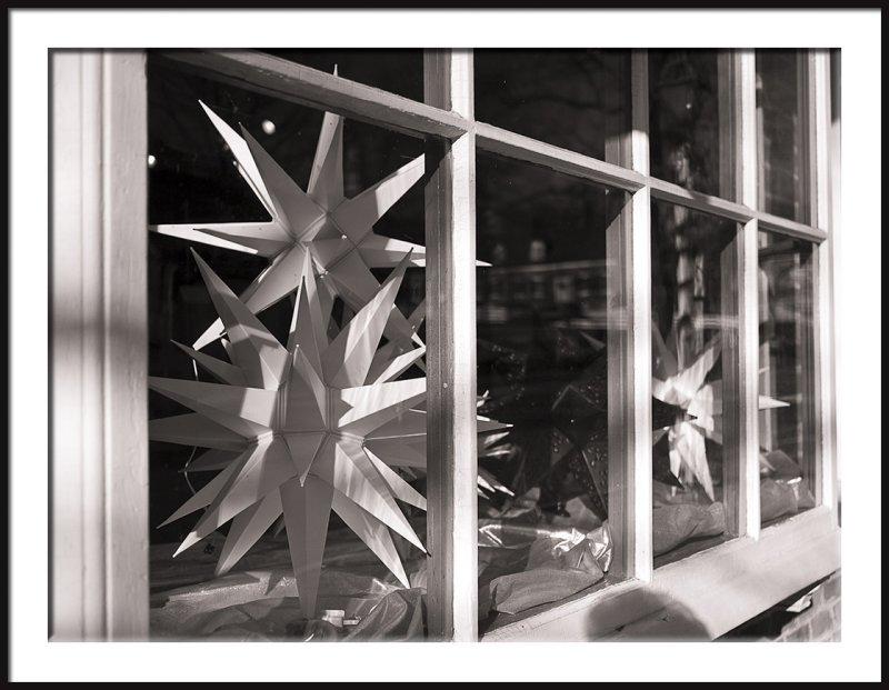 Old Salem Shop Window with Moravian Stars