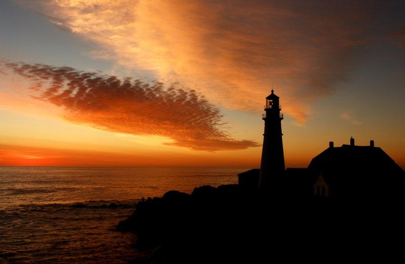 1382DSC09975/stnd PORTLAND HEAD LIGHT, by donald verger lighthouse angler meets the sunrsise!