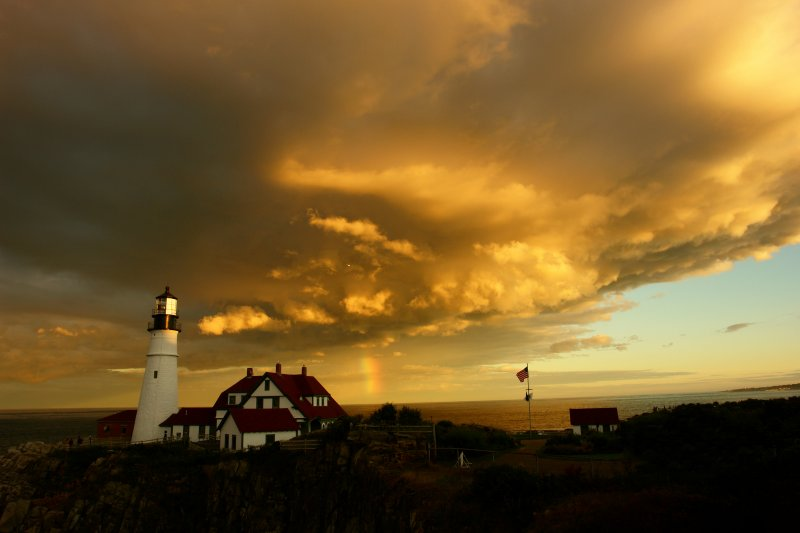 PORTLAND HEAD LIGHT LIGHTHOUSE amazing evening by donald verger this is sunset