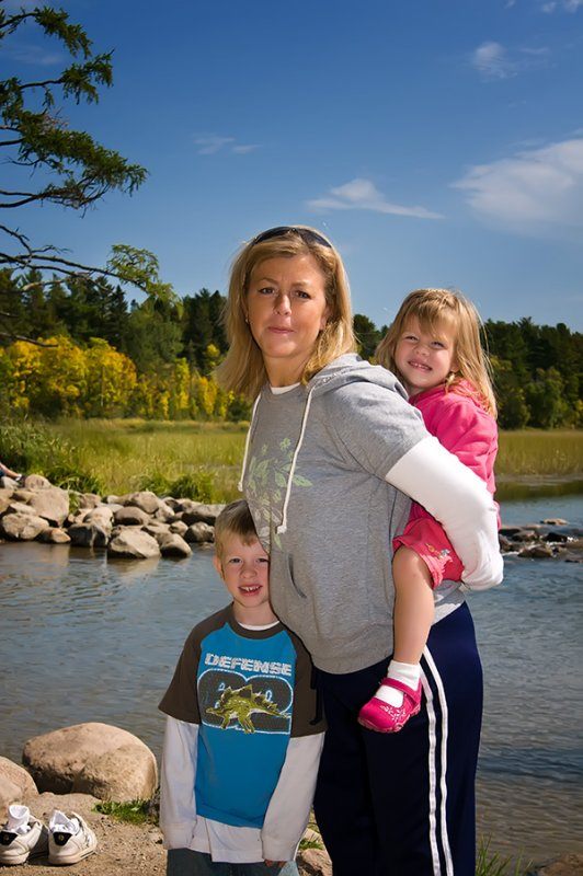 Beth with kids at headwaters of the Mississippi