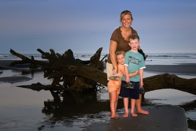 Beth with kids on island in South Carolina