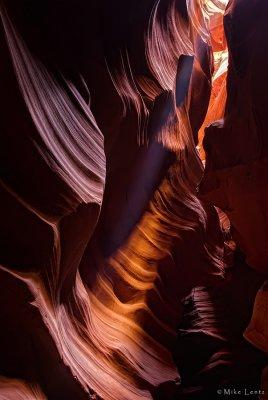 Antelope canyon light shines through