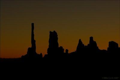 Sunrise at the Totem Pole and Yei bi Chei