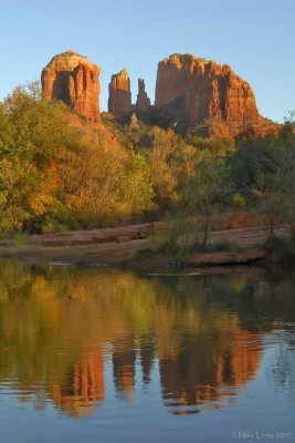 Cathedral Rock sunset reflection