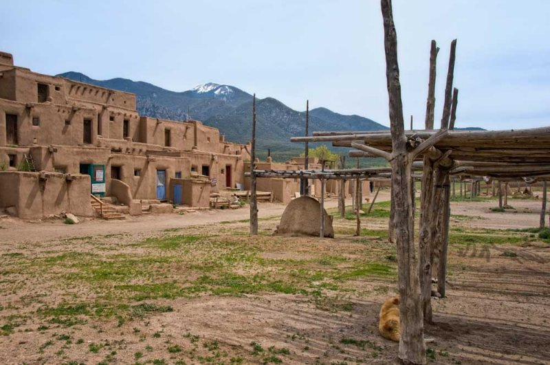 Taos Pueblo with drying racks