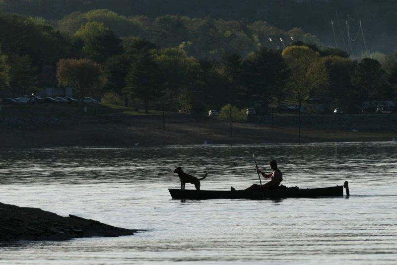 A man, his kayak and his dog...