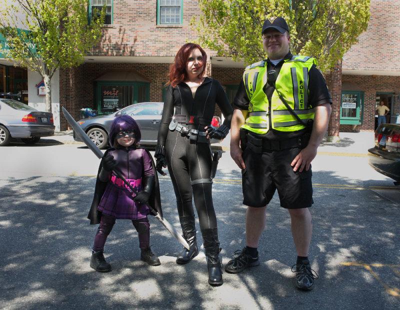 Officer Josh, Black Widow and Hit Girl!