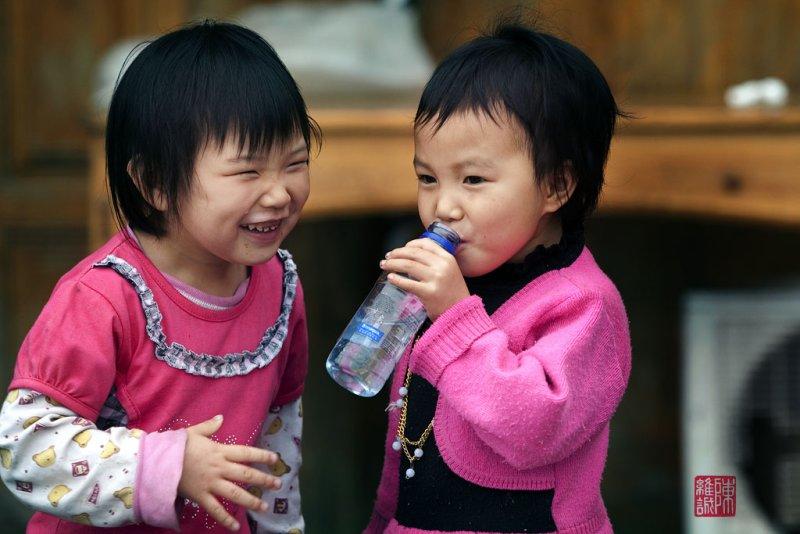 Children at Da Zai village, Long Ji.