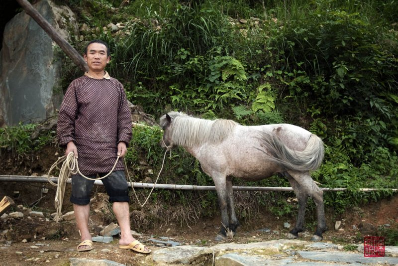 Farmer with his donkey, Ping An, China