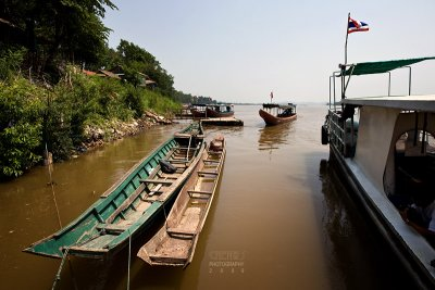 Boats on the Khong river, Laos