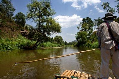 Bamboo rafting down Mae Taeng River Thailand