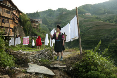 Yao ethnic minority lady, Da Zai village, Long Ji.