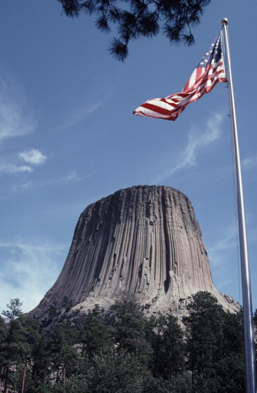 Devils Tower and Old Glory, Wyoming