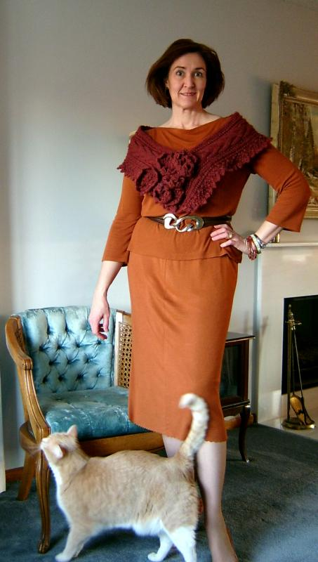 Copper Ribknit with Cat
