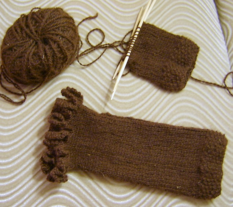 Alpaca Fingerless Glove Progress