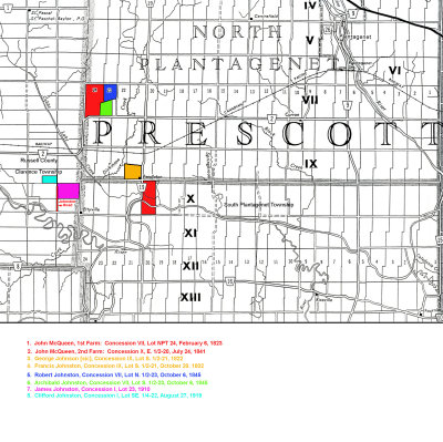 Map - N. & S. Plantagenet Twps. (Prescott Co.) & Clarence Twp. (Russell Co.) Family Farms