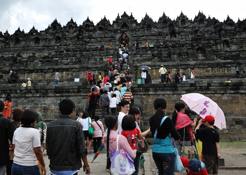 A very crowded Borobudur