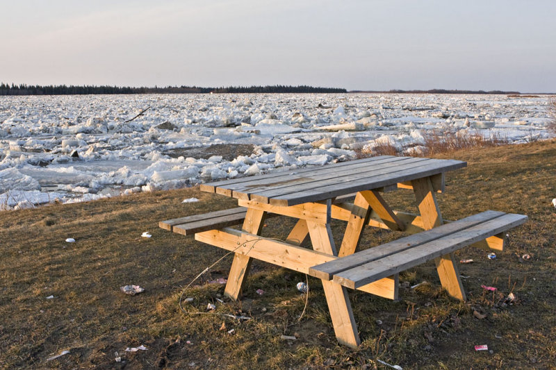 Picnic table beside ice