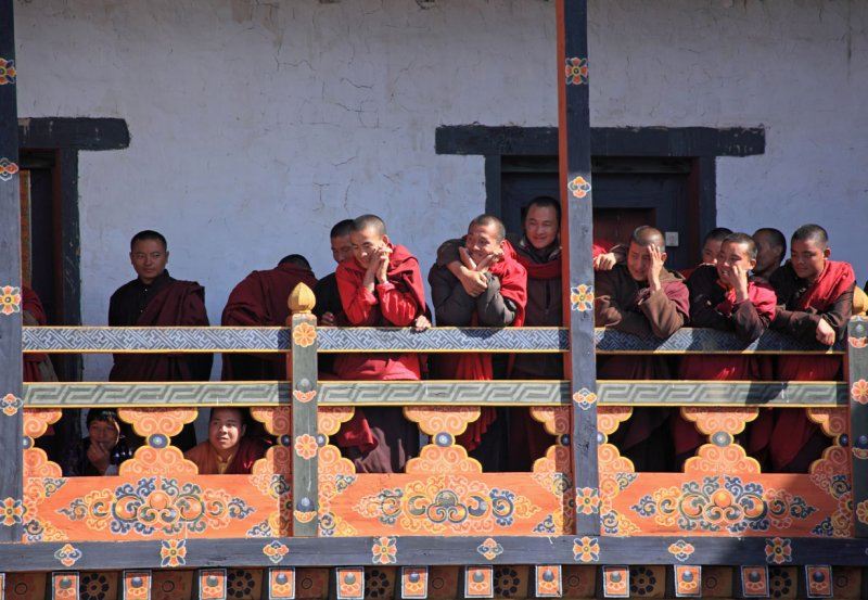 Monks watching the dancing