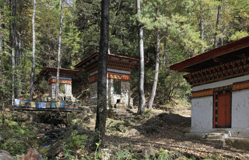 Chortens with water-driven prayer wheels