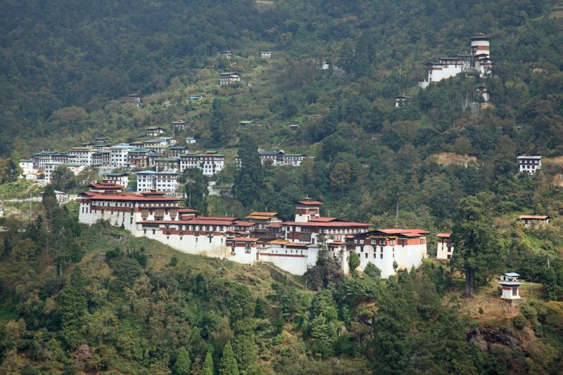 Trongsa Dzong from the Mangde Chhu valley