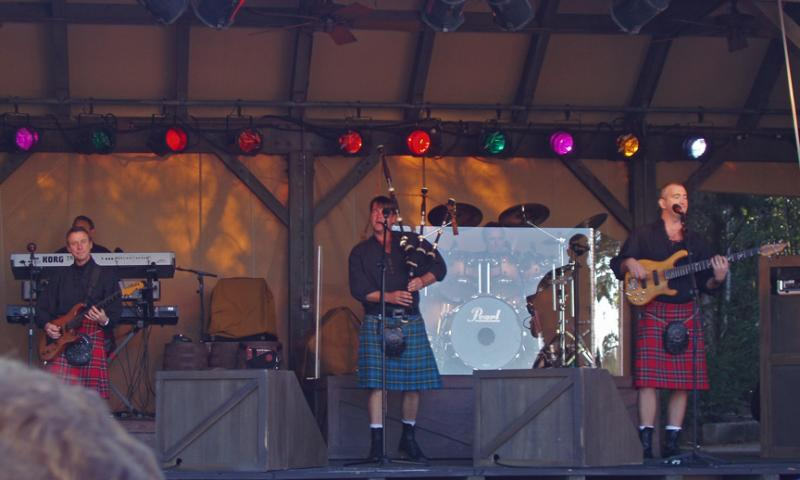 Off Kilter performing at the Canada exhibit...yep, its a bagpipe in a rock band