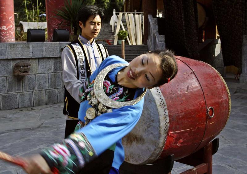 Long Juxian, Fourth Hmong Drum Princess from Dehang Village, Hunan Province, China