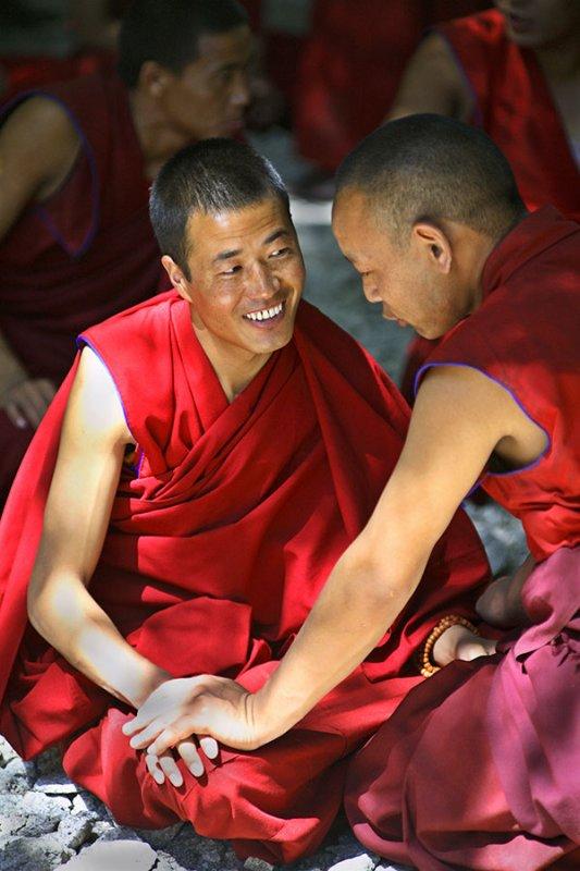 Debating monks, Sera Monastary, Lhasa, Tibet.