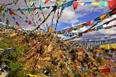 Prayer flags in the mountains above Lhasa.