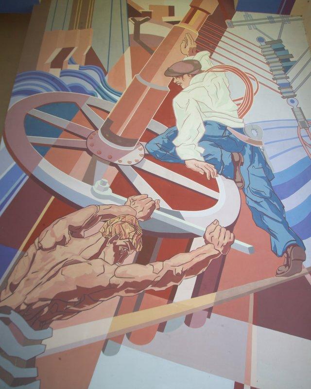 Artist Recreation in 1980s or Original 1930s Murals