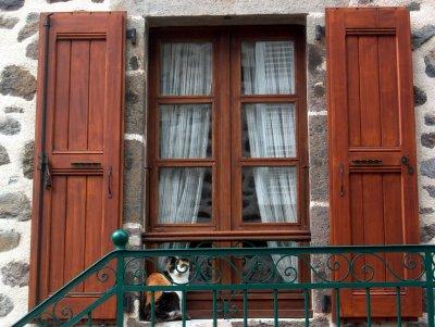 Calico Cat in Window, Polminhac 2005