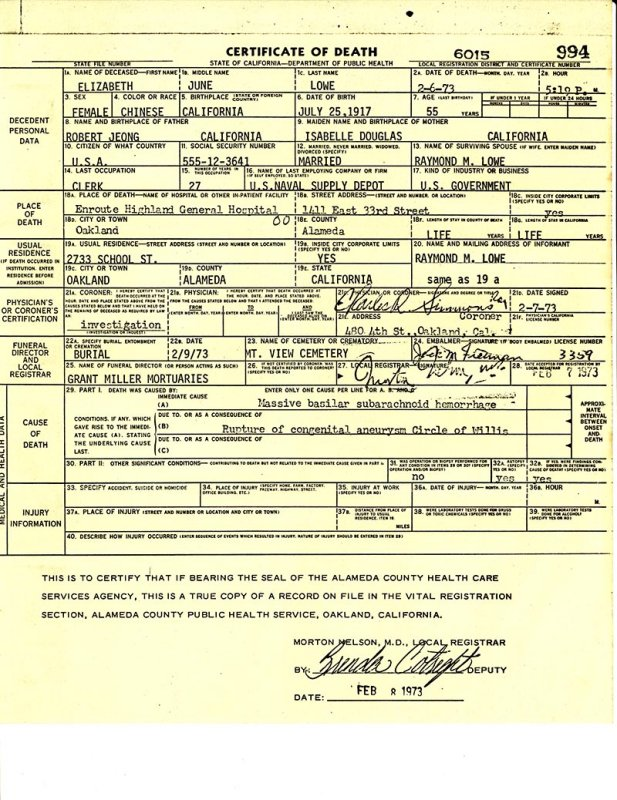 Elizabeth Lowe Death Certificate