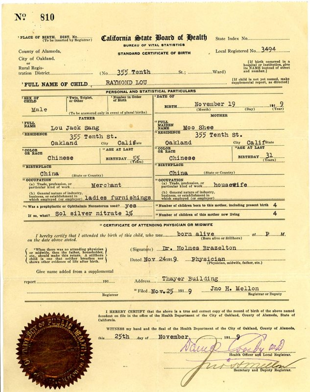Raymond Lou Birth Certificate