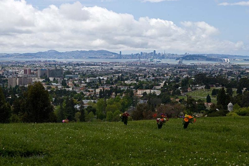 5/9/2010  Oakland skyline from Mountain View Cemetery