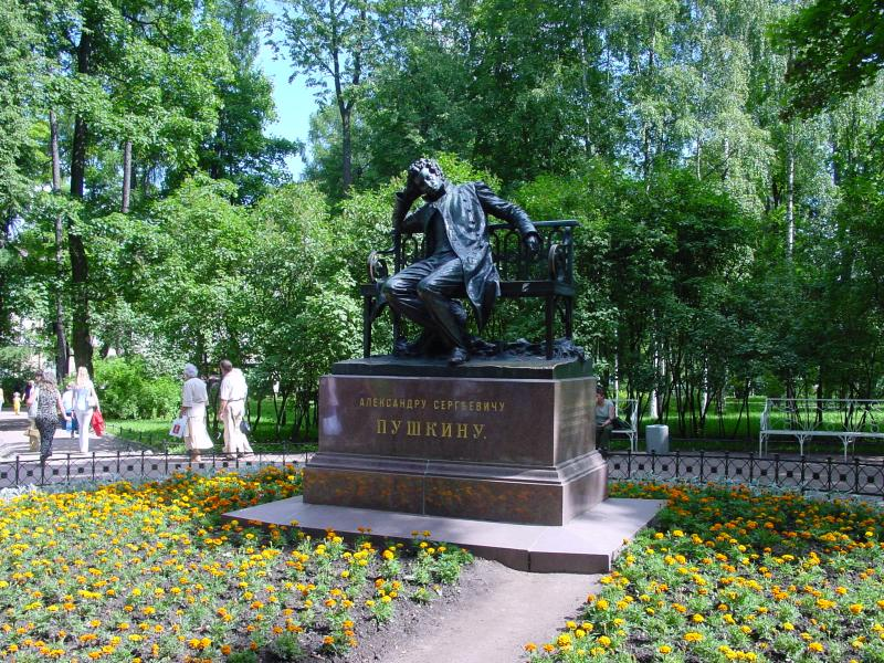 A sculpture of poet Pushkin