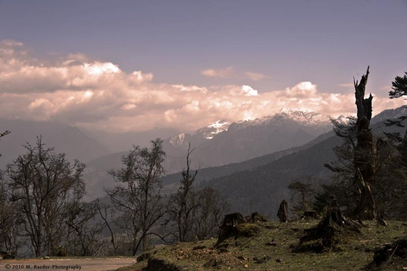 Light over Jomolhari snow-capped mountains