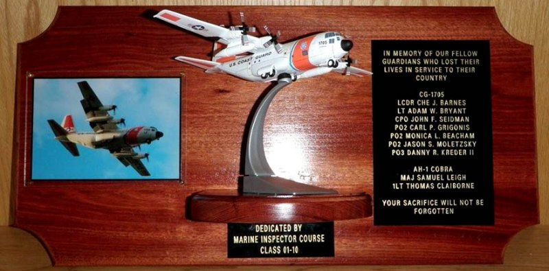 2009 - our photo of USCG HC-130H #1705 used on memorial display by Marine Inspector Course Class 01-10
