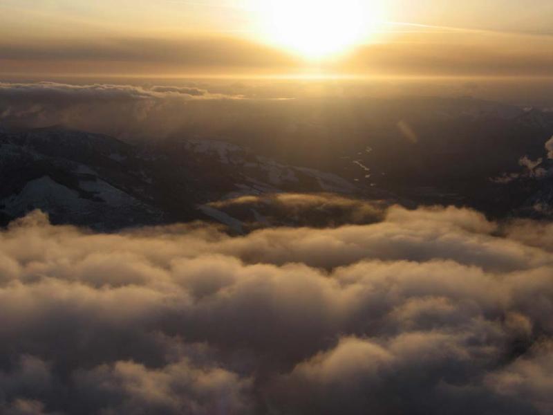 Sunset From 8,500 Above Hidden Lake<br> (HiddenLk022406-4adj.jpg)