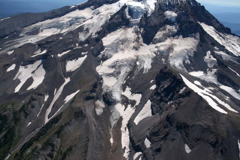 Hood, L To R:  Eliot, Langille, Coe, & Ladd Glaciers <br> (Hood082407-_400.jpg)
