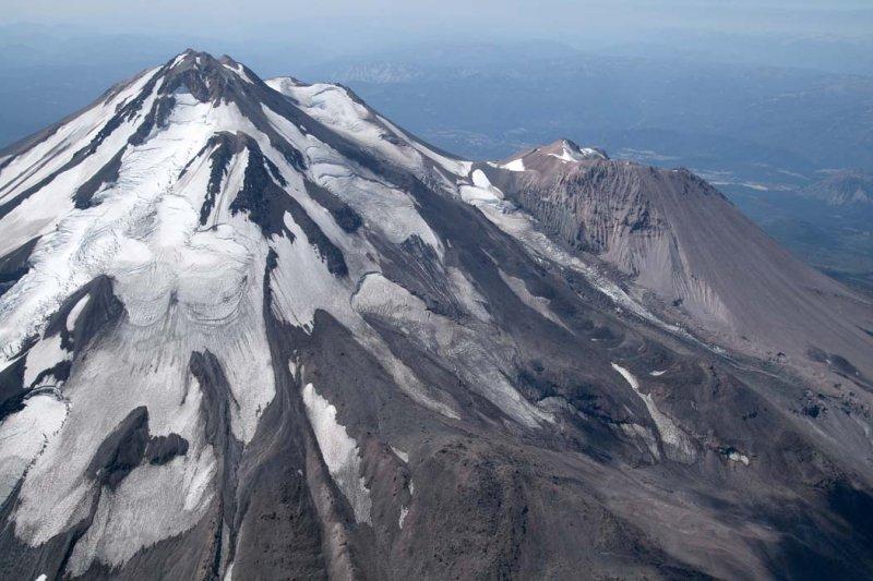 Shasta:  Hotlum (L) & Bolam Glaciers, View SW<br> (Shasta082907-_124.jpg)